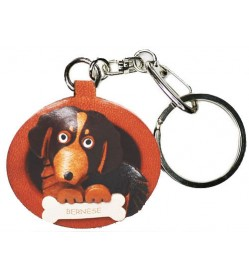 Bernese Mountain Dog Leather Dog plate Keychain