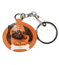 Pug Leather Dog plate Keychain