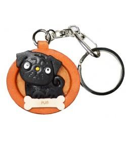 Pug Black Leather Dog plate Keychain
