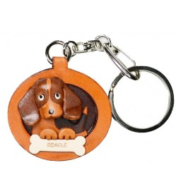 Beagle Leather Dog plate Keychain