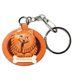 Pomeranian Leather Dog plate Keychain