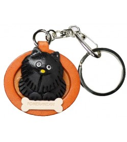 Pomeranian Black Leather Dog plate Keychain
