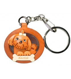 Maltese Leather Dog plate Keychain