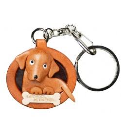 Labrador Retriever Leather Dog plate Keychain