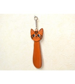 American shorthair Cat Shoehorn Genuine 3D Leather Item VANCA CRAFT made in Japan #26087