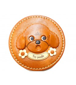 TOY POODLE genuine leather handmade compact mirror #26689