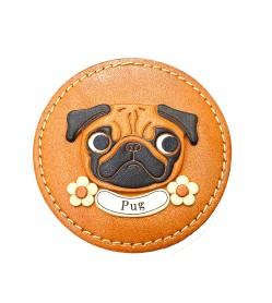 PUG genuine leather handmade compact mirror #26690