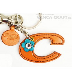 "Initial  ""C"" Leather Keychain Bag Charm"