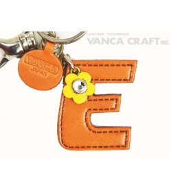 "Initial  ""E"" Leather Keychain Bag Charm"