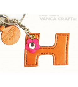 "Initial  ""H"" Leather Keychain Bag Charm"