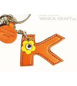"Initial  ""K"" Japanese Leather Bag Charm"