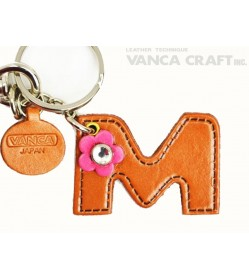 "Initial  ""M"" Leather Keychain Bag Charm"