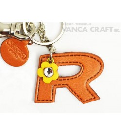 "Initial  ""R"" Leather Keychain Bag Charm"