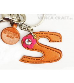 "Initial  ""S"" Leather Keychain Bag Charm"