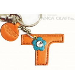 "Initial  ""T"" Leather Keychain Bag Charm"
