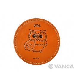Leather Coaster Owl