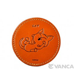 Leather Coaster Cat