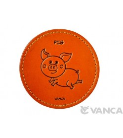 Leather Coaster Pig