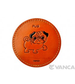 Leather Coaster Pug