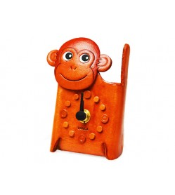 Monkey Japanese Leather Desk Clock #26515