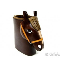 Horse Head Black Brown Handmade Leather Eyeglasses Holder/Stand #26229