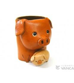 Pig Handmade Leather Animal Eyeglasses Holder/Stand #26210