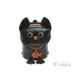 Black Cat Handmade Leather Eyeglasses Holder/Stand #26203