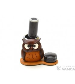 Owl Japanese Leather Seal Stand #26296