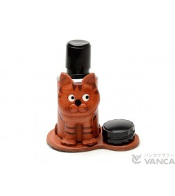 Cat Japanese Leather Seal Stand #26289