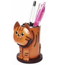 Tabby Cat Leather Pen stand #26241