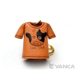 Cow T-shirt Leather Keychain