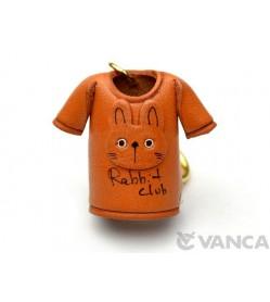 Rabbit T-shirt Leather Keychain