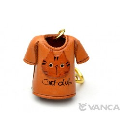 Cat T-shirt Leather Keychain