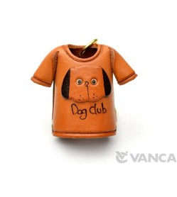 Dog T-shirt Leather Keychain