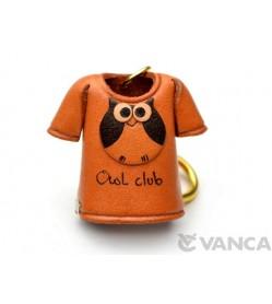Owl T-shirt Leather Keychain