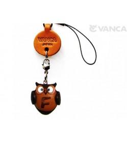 Owl F Leather Cellularphone Charm Alphabet