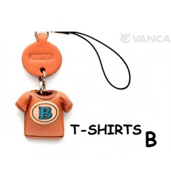 B(Blue) Japanese Leather Cellularphone Charm T-shirt