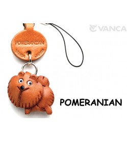 Pomeranian Leather Cellularphone Charm