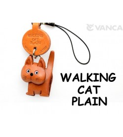 Walking Japanese Leather Cellularphone Charm Cat