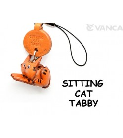 Tabby Sitting Japanese Leather Cellularphone Charm Cat #46403