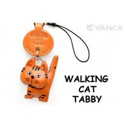 Tabby Walking Japanese Leather Cellularphone Charm Cat #46405