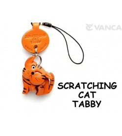 Tabby Scratching Japanese Leather Cellularphone Charm Cat #46402