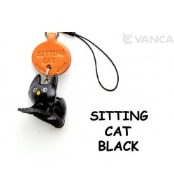 Black Sitting Japanese Leather Cellularphone Charm Cat