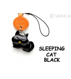 Black Sleeping Japanese Leather Cellularphone Charm Cat