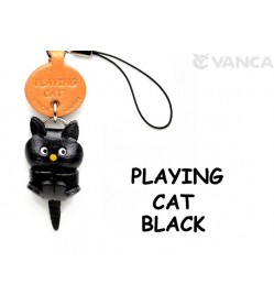 Black Playing Japanese Leather Cellularphone Charm Cat