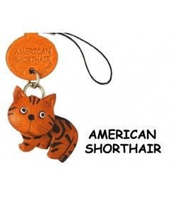 American Shorthair Japanese Leather Cellularphone Charm Cat
