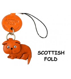 Scottish Fold Japanese Leather Cellularphone Charm Cat