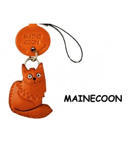 Main Coon Japanese Leather Cellularphone Charm Cat