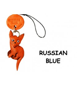 Russian Blue Japanese Leather Cellularphone Charm Cat #46419