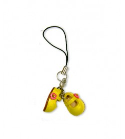 First shoes yellow Leather cellular phone Charm